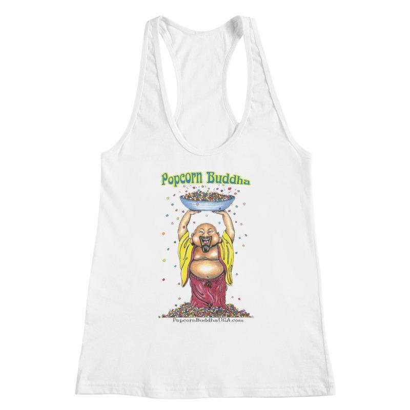 Standing Popcorn Buddha Women's Racerback Tank by Popcorn Buddha Merchandise