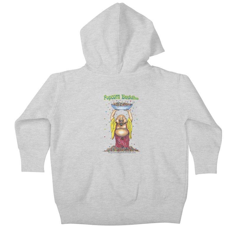 Standing Popcorn Buddha Kids Baby Zip-Up Hoody by Popcorn Buddha Merchandise