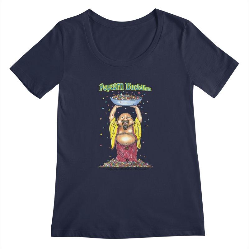 Standing Popcorn Buddha Women's Regular Scoop Neck by Popcorn Buddha Merchandise