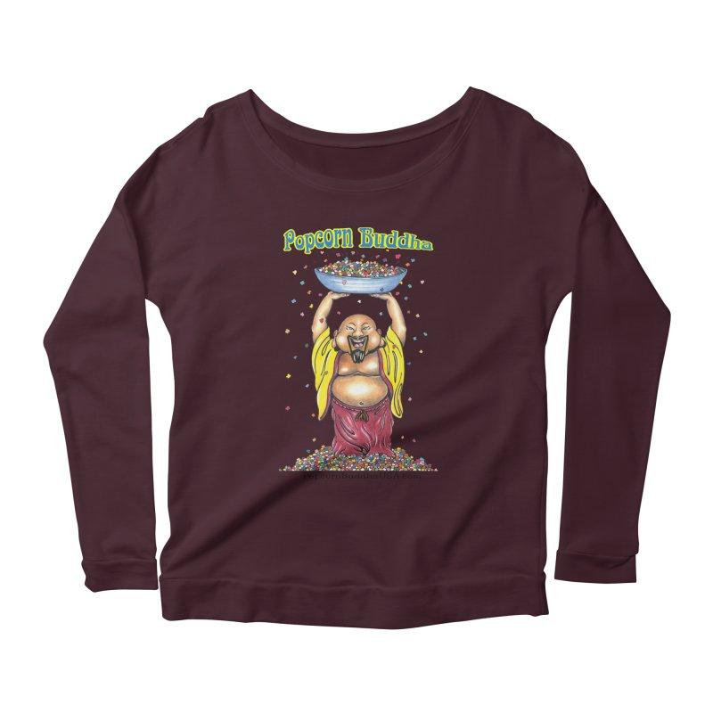 Standing Popcorn Buddha Women's Scoop Neck Longsleeve T-Shirt by Popcorn Buddha Merchandise