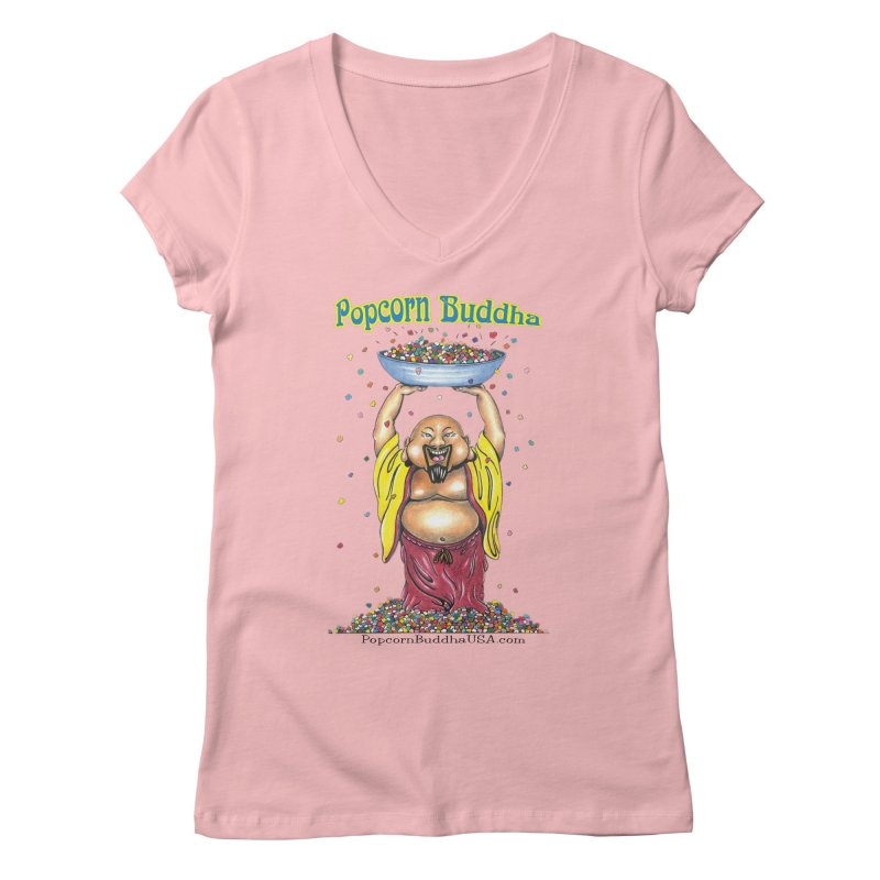 Standing Popcorn Buddha Women's Regular V-Neck by Popcorn Buddha Merchandise