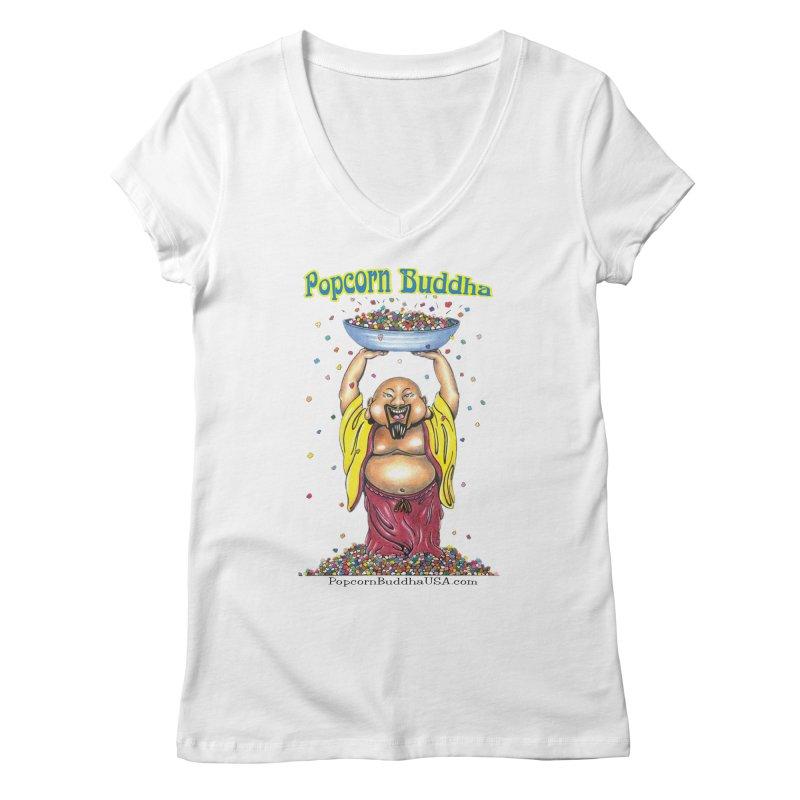 Standing Popcorn Buddha Women's Regular V-Neck by Popcorn Buddha Merchandise