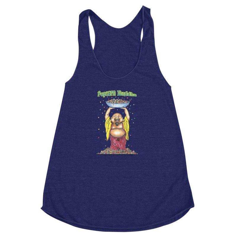 Standing Popcorn Buddha Women's Racerback Triblend Tank by Popcorn Buddha Merchandise