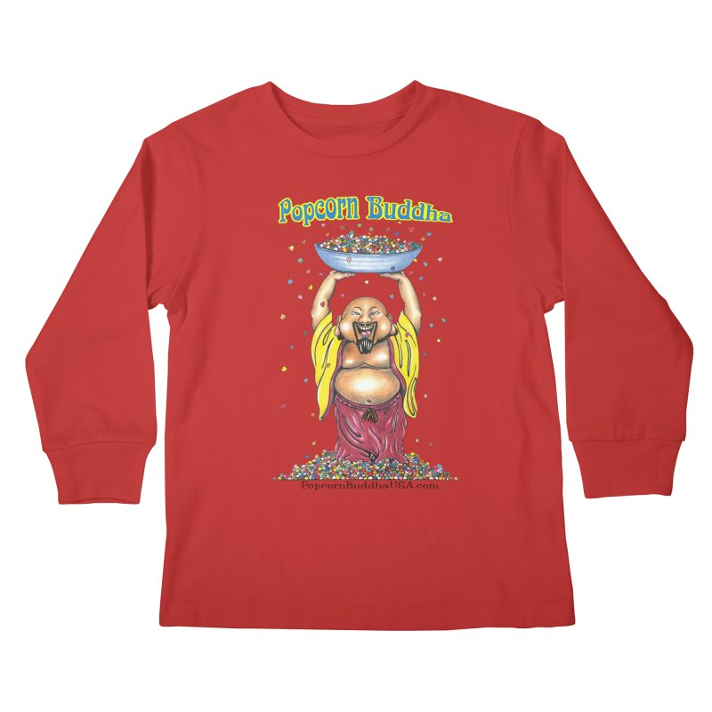 Standing Popcorn Buddha Kids Longsleeve T-Shirt by Popcorn Buddha Merchandise