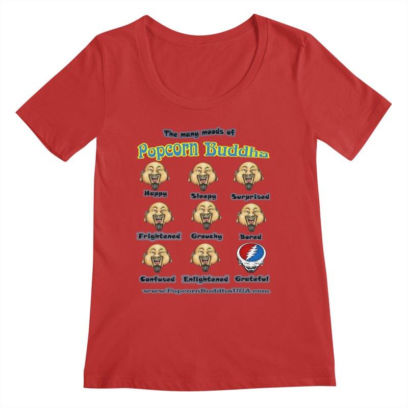 Grateful Mood Women's Regular Scoop Neck by Popcorn Buddha Merchandise