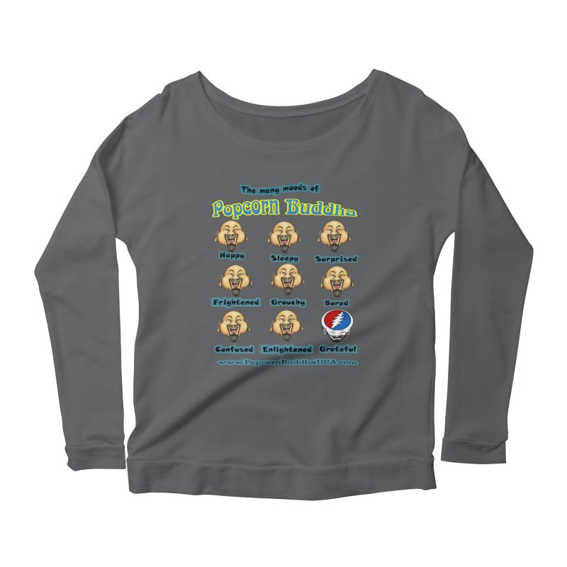Grateful Mood Women's Scoop Neck Longsleeve T-Shirt by Popcorn Buddha Merchandise