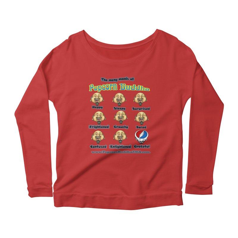 Grateful Mood Women's Scoop Neck Longsleeve T-Shirt by Popcorn Buddha Merchandise