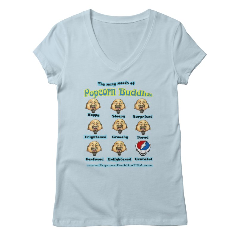Grateful Mood Women's Regular V-Neck by Popcorn Buddha Merchandise