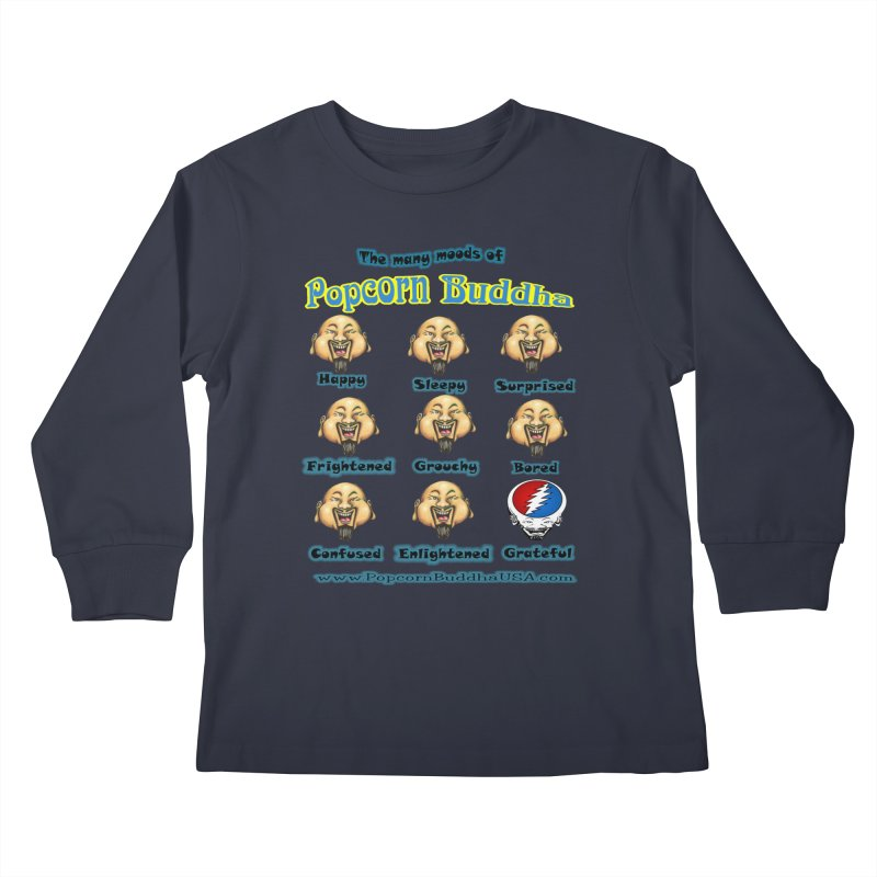 Grateful Mood Kids Longsleeve T-Shirt by Popcorn Buddha Merchandise
