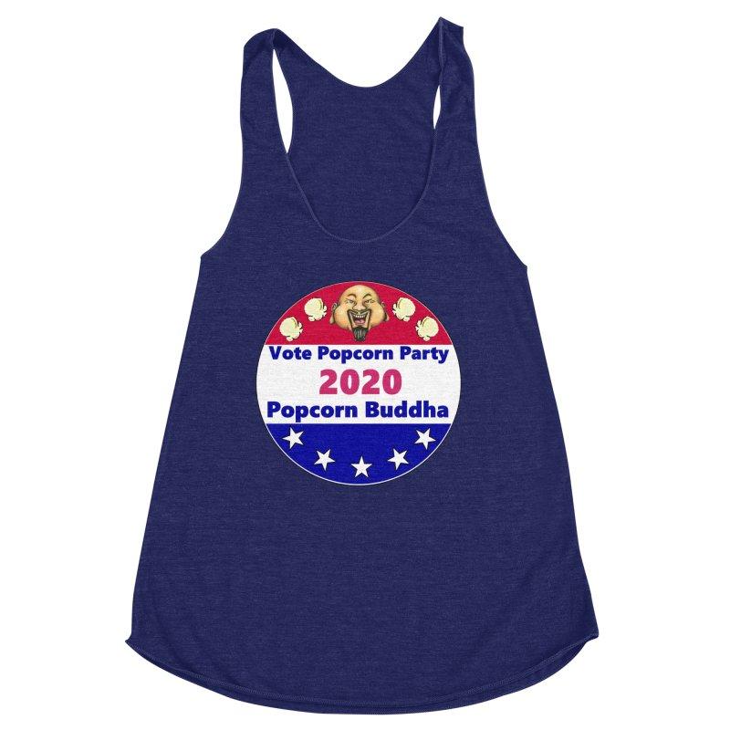 Popcorn Party 2020 Women's Racerback Triblend Tank by Popcorn Buddha Merchandise
