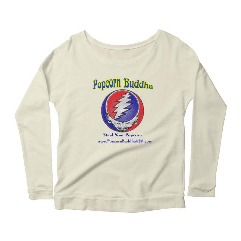 Steal your Popcorn Women's Scoop Neck Longsleeve T-Shirt by Popcorn Buddha Merchandise