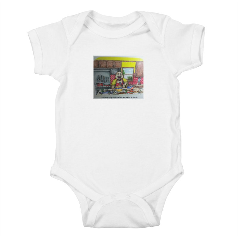 Popcorn Buddha in the kitchen Kids Baby Bodysuit by Popcorn Buddha Merchandise