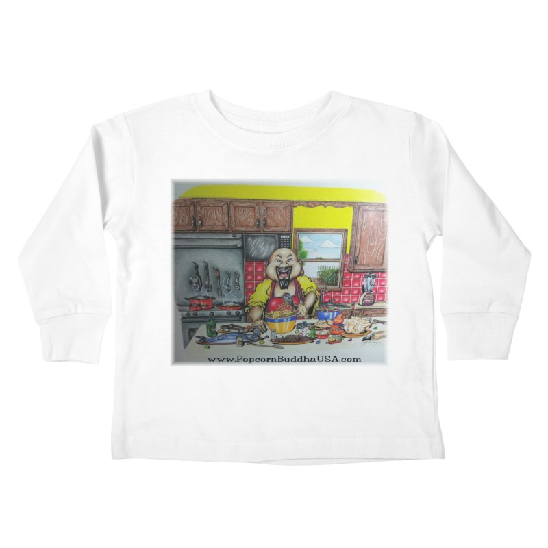 Popcorn Buddha in the kitchen Kids Toddler Longsleeve T-Shirt by Popcorn Buddha Merchandise