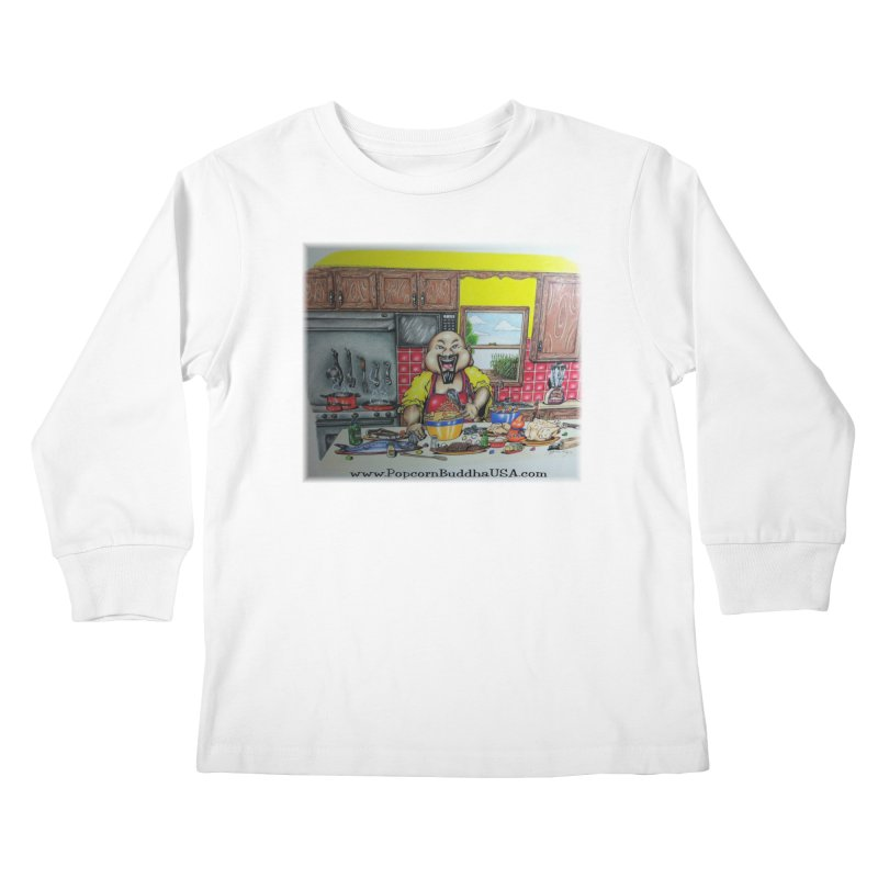 Popcorn Buddha in the kitchen Kids Longsleeve T-Shirt by Popcorn Buddha Merchandise