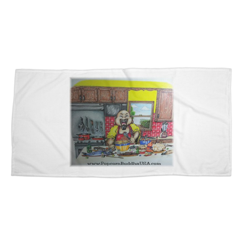 Popcorn Buddha in the kitchen Accessories Beach Towel by Popcorn Buddha Merchandise