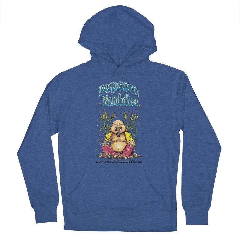 Sitting Buddha logo Women's French Terry Pullover Hoody by Popcorn Buddha Merchandise