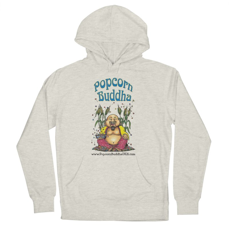 Sitting Buddha logo Men's French Terry Pullover Hoody by Popcorn Buddha Merchandise