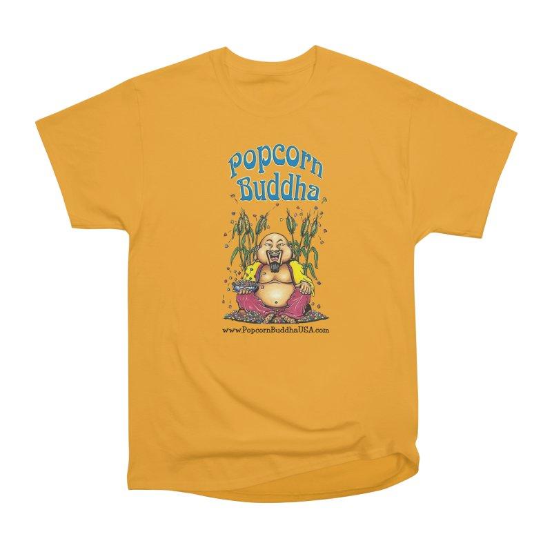 Sitting Buddha logo Women's Heavyweight Unisex T-Shirt by Popcorn Buddha Merchandise