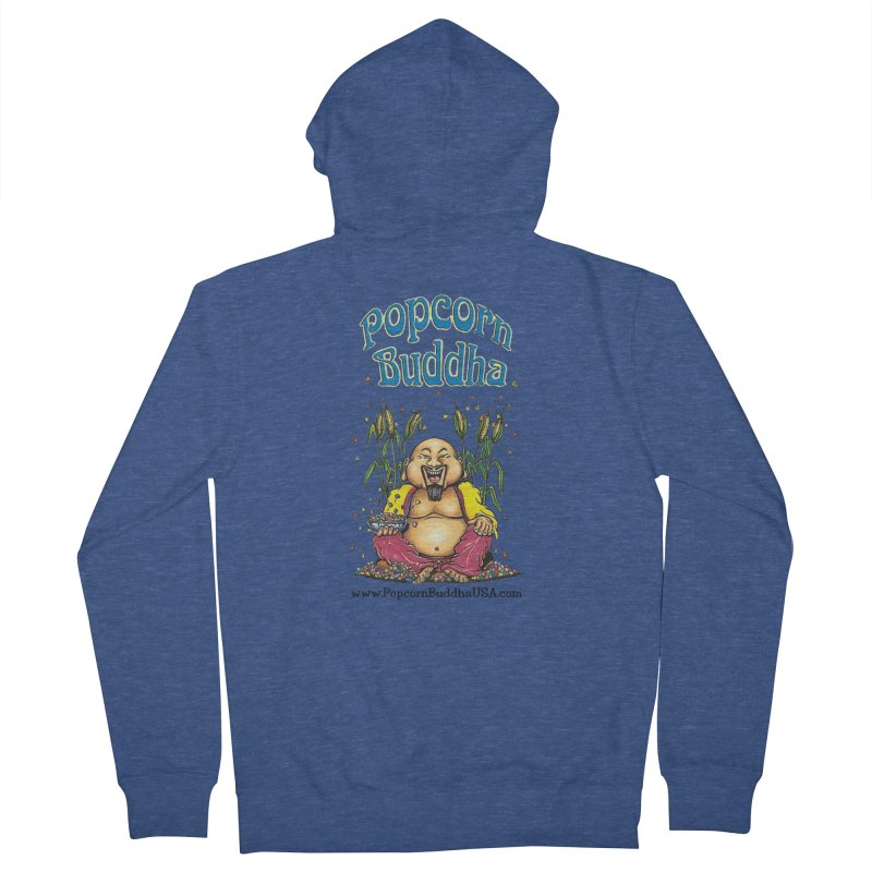 Sitting Buddha logo Women's French Terry Zip-Up Hoody by Popcorn Buddha Merchandise