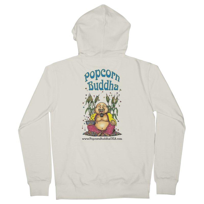Sitting Buddha logo Women's French Terry Zip-Up Hoody by Popcorn Buddha Merchandise