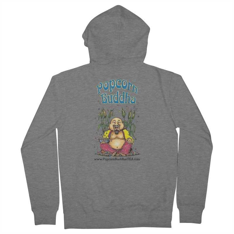 Sitting Buddha logo Men's French Terry Zip-Up Hoody by Popcorn Buddha Merchandise