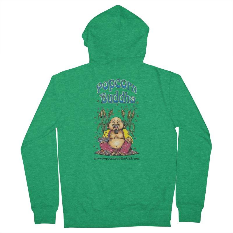 Sitting Buddha logo Men's Zip-Up Hoody by Popcorn Buddha Merchandise