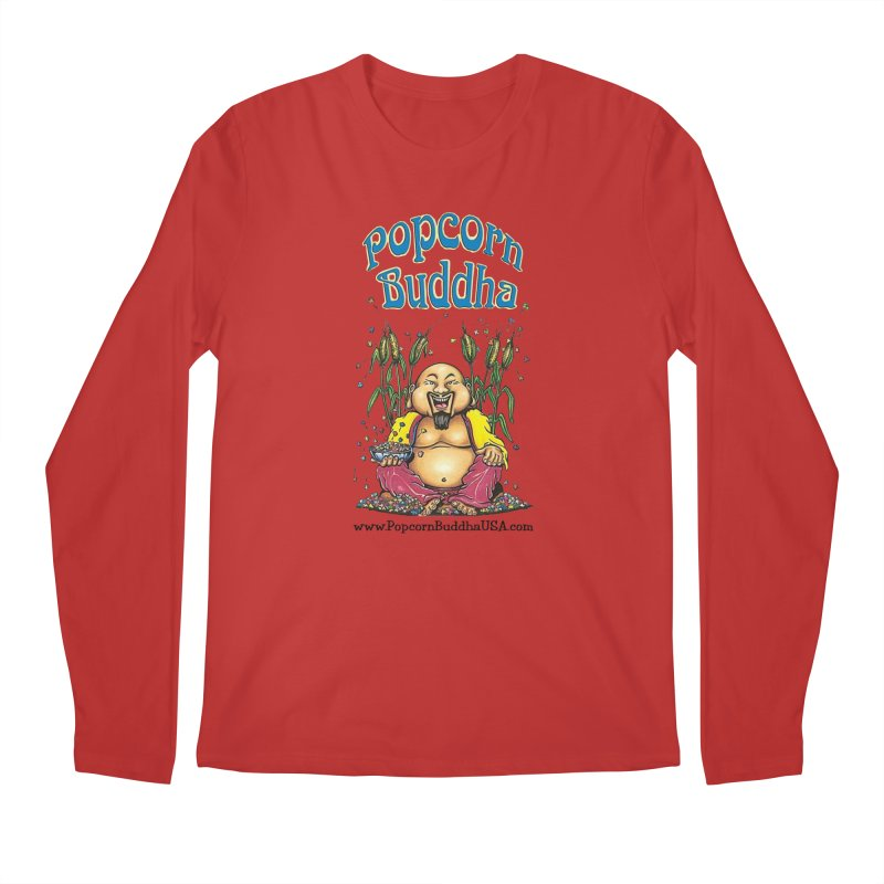 Sitting Buddha logo Men's Regular Longsleeve T-Shirt by Popcorn Buddha Merchandise