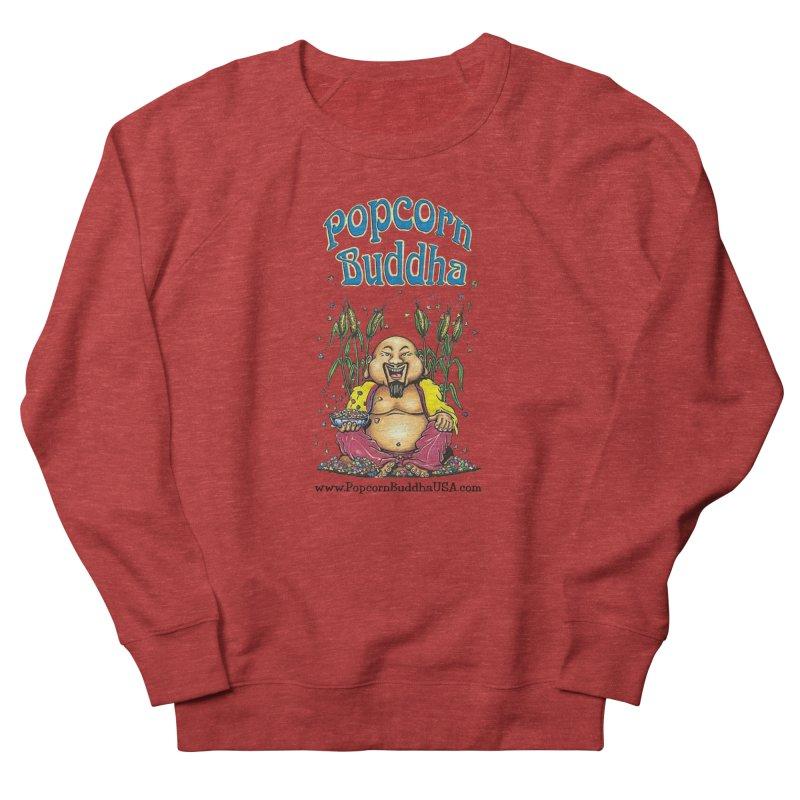 Sitting Buddha logo Women's French Terry Sweatshirt by Popcorn Buddha Merchandise
