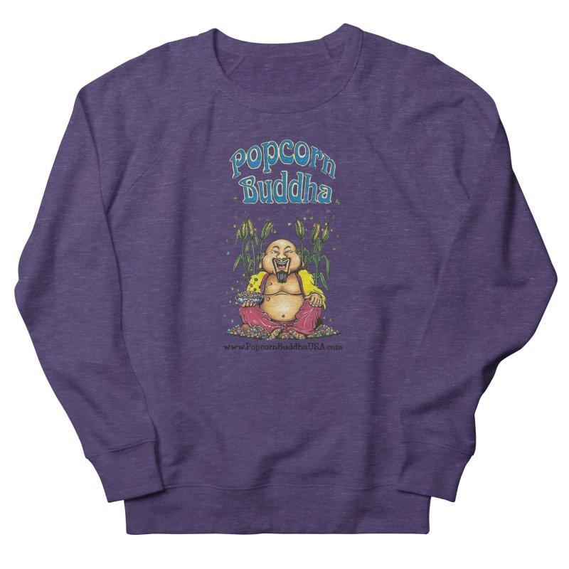 Sitting Buddha logo Men's French Terry Sweatshirt by Popcorn Buddha Merchandise