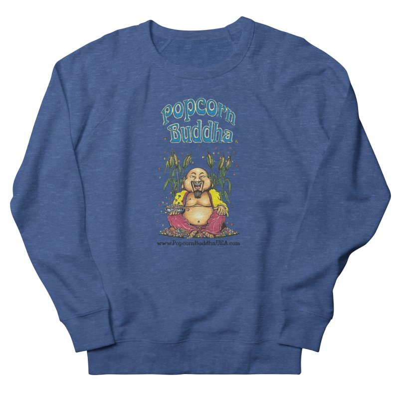 Sitting Buddha logo Men's French Terry Sweatshirt by Popcorn Buddha Merchandise