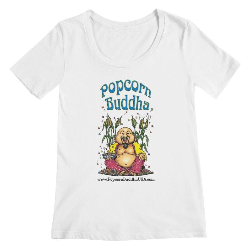 Sitting Buddha logo Women's Regular Scoop Neck by Popcorn Buddha Merchandise