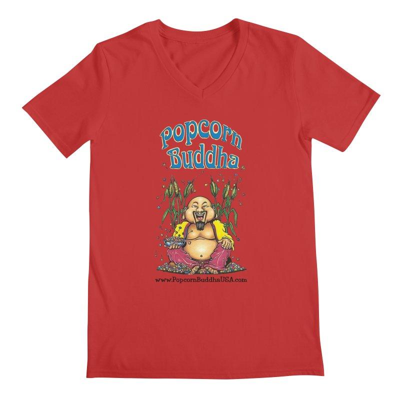 Sitting Buddha logo Men's Regular V-Neck by Popcorn Buddha Merchandise