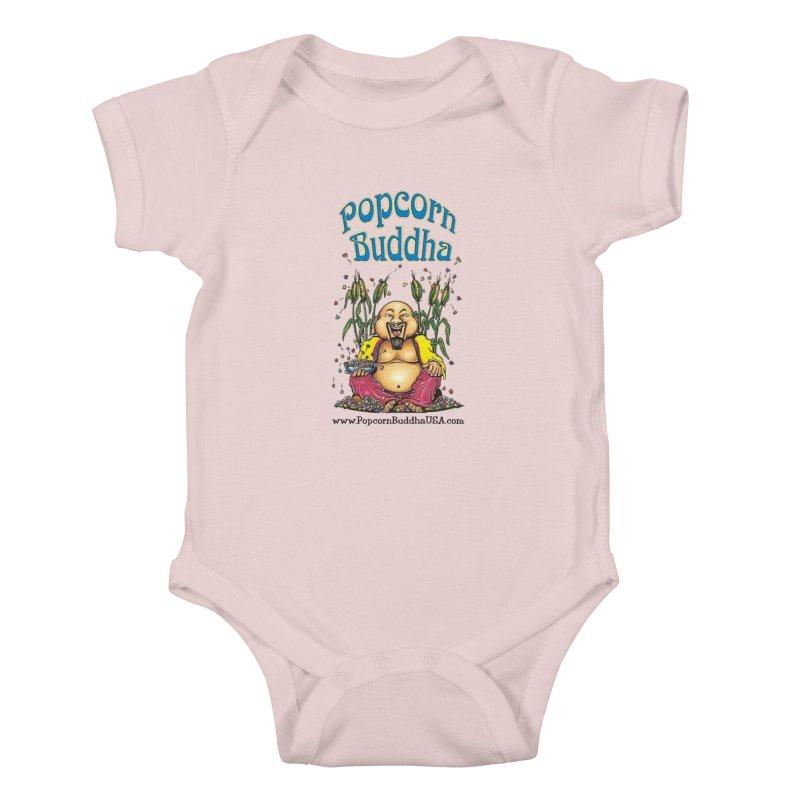Sitting Buddha logo Kids Baby Bodysuit by Popcorn Buddha Merchandise