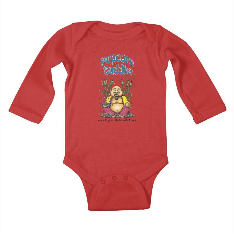 Sitting Buddha logo Kids Baby Longsleeve Bodysuit by Popcorn Buddha Merchandise