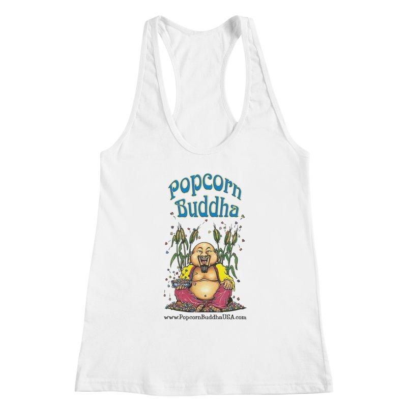 Sitting Buddha logo Women's Tank by Popcorn Buddha Merchandise