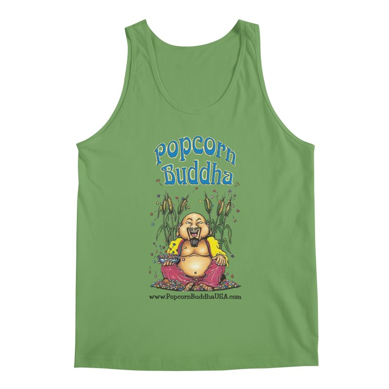 Sitting Buddha logo Men's Tank by Popcorn Buddha Merchandise