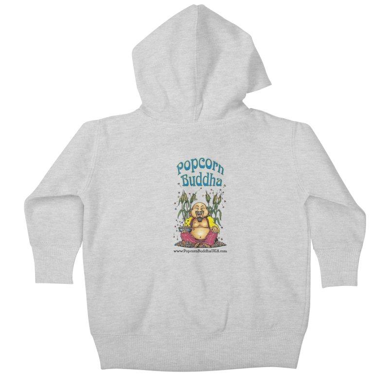 Sitting Buddha logo Kids Baby Zip-Up Hoody by Popcorn Buddha Merchandise
