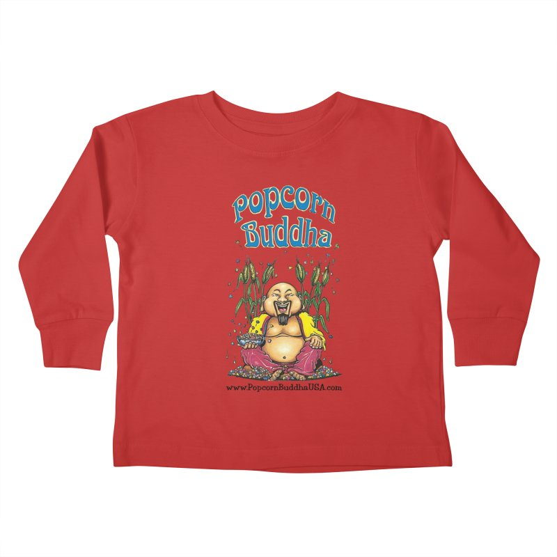 Sitting Buddha logo Kids Toddler Longsleeve T-Shirt by Popcorn Buddha Merchandise