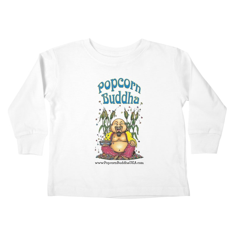 Sitting Buddha logo Kids Toddler Longsleeve T-Shirt by Popcorn Buddha Merchandise