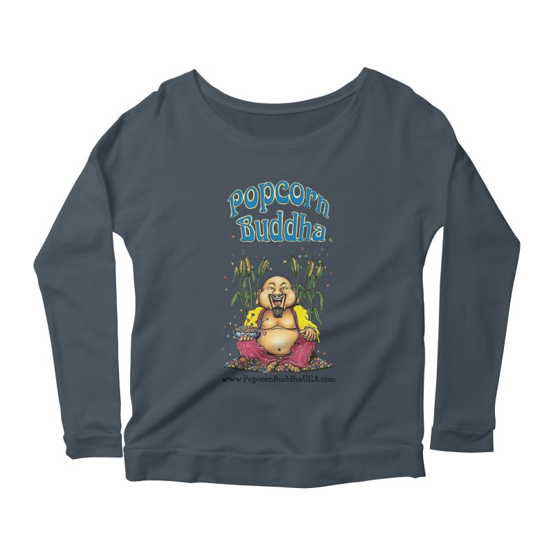 Sitting Buddha logo Women's Scoop Neck Longsleeve T-Shirt by Popcorn Buddha Merchandise