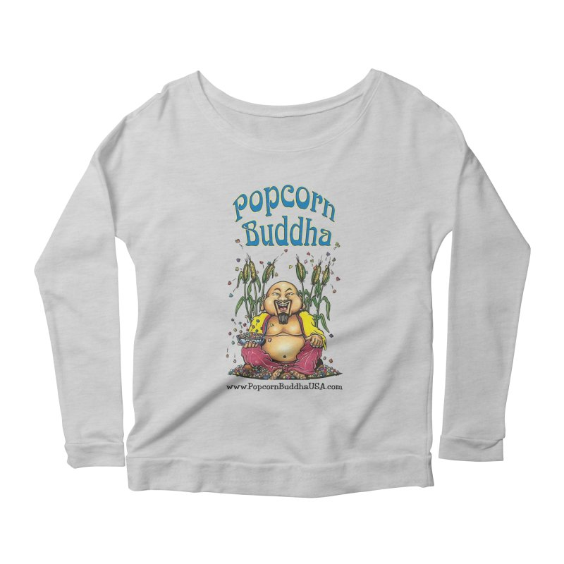 Sitting Buddha logo Women's Scoop Neck Longsleeve T-Shirt by Popcorn Buddha Merchandise
