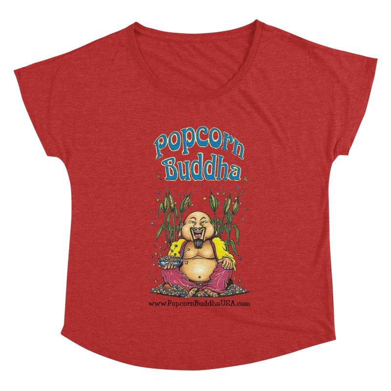 Sitting Buddha logo Women's Dolman Scoop Neck by Popcorn Buddha Merchandise