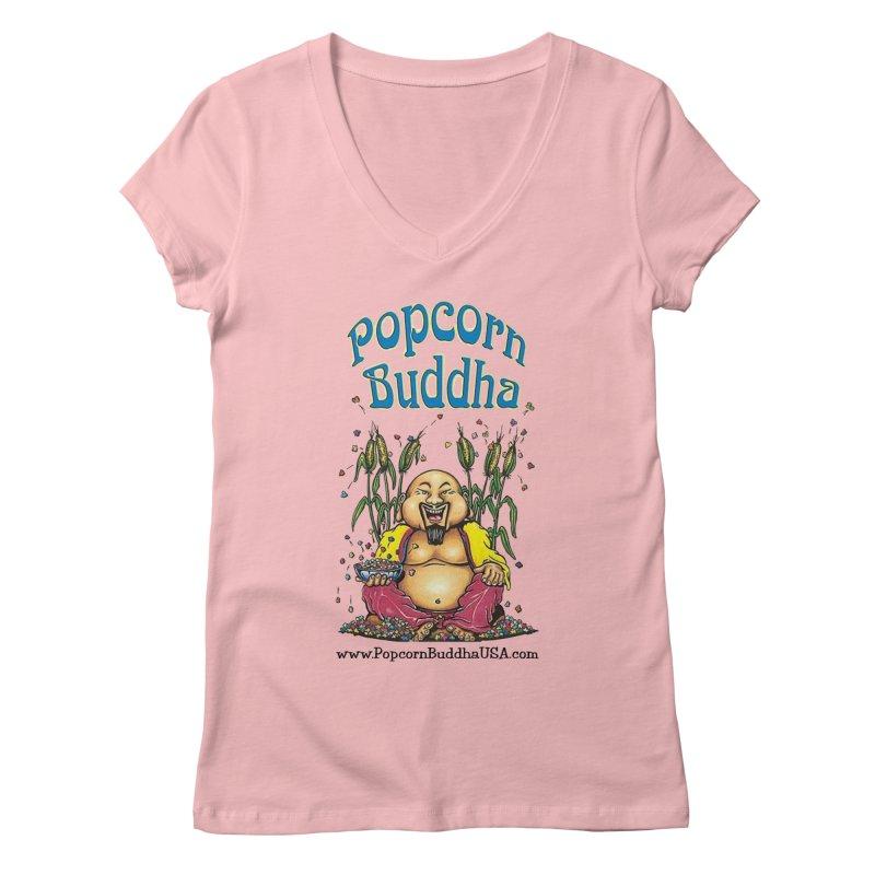Sitting Buddha logo Women's Regular V-Neck by Popcorn Buddha Merchandise