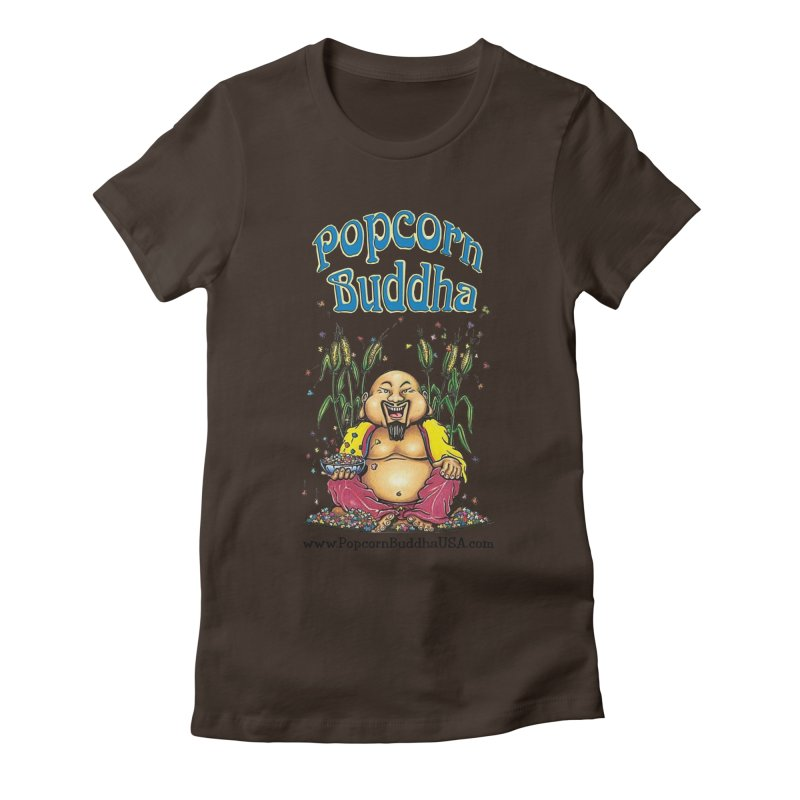 Sitting Buddha logo Women's Fitted T-Shirt by Popcorn Buddha Merchandise