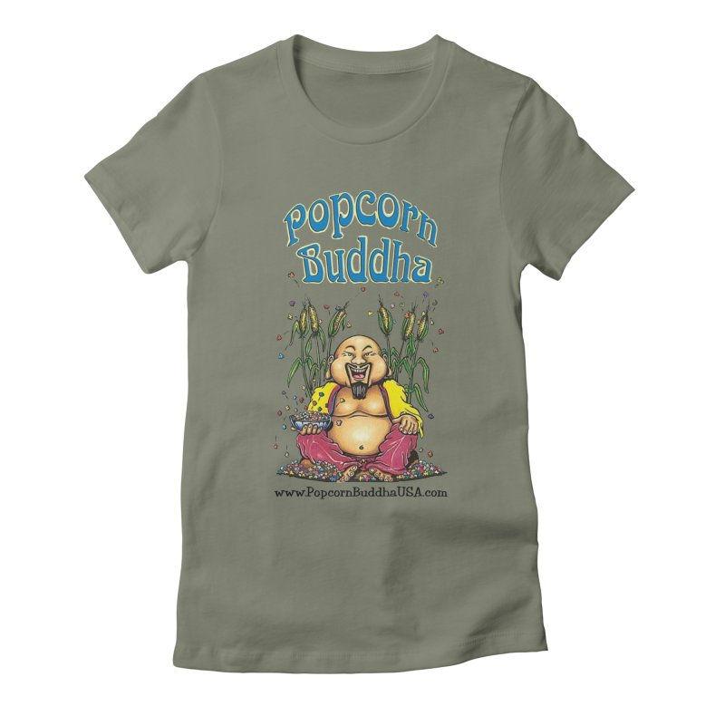 Sitting Buddha logo Women's Fitted T-Shirt by Popcorn Buddha Merchandise