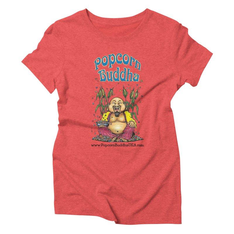 Sitting Buddha logo Women's Triblend T-Shirt by Popcorn Buddha Merchandise