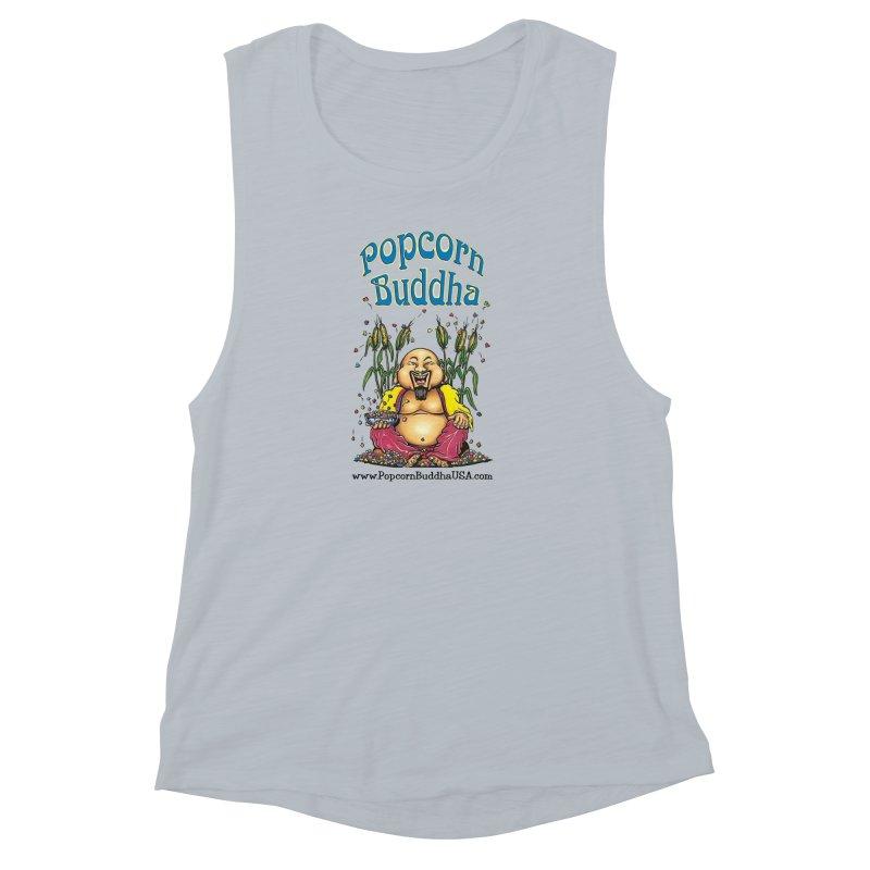 Sitting Buddha logo Women's Muscle Tank by Popcorn Buddha Merchandise