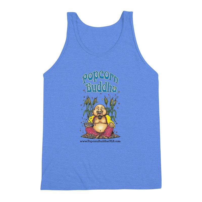 Sitting Buddha logo Men's Triblend Tank by Popcorn Buddha Merchandise