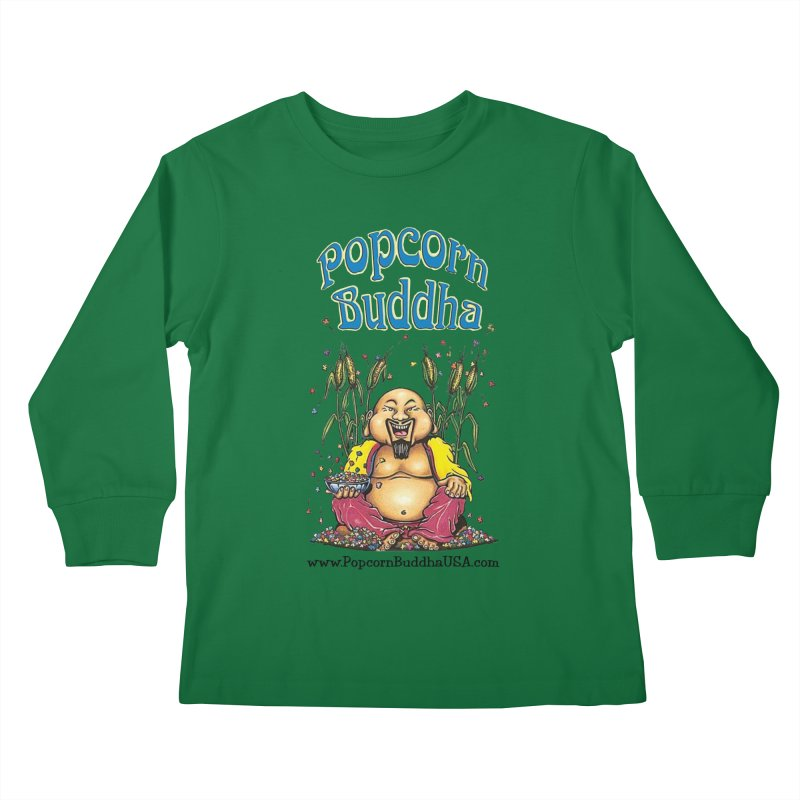Sitting Buddha logo Kids Longsleeve T-Shirt by Popcorn Buddha Merchandise