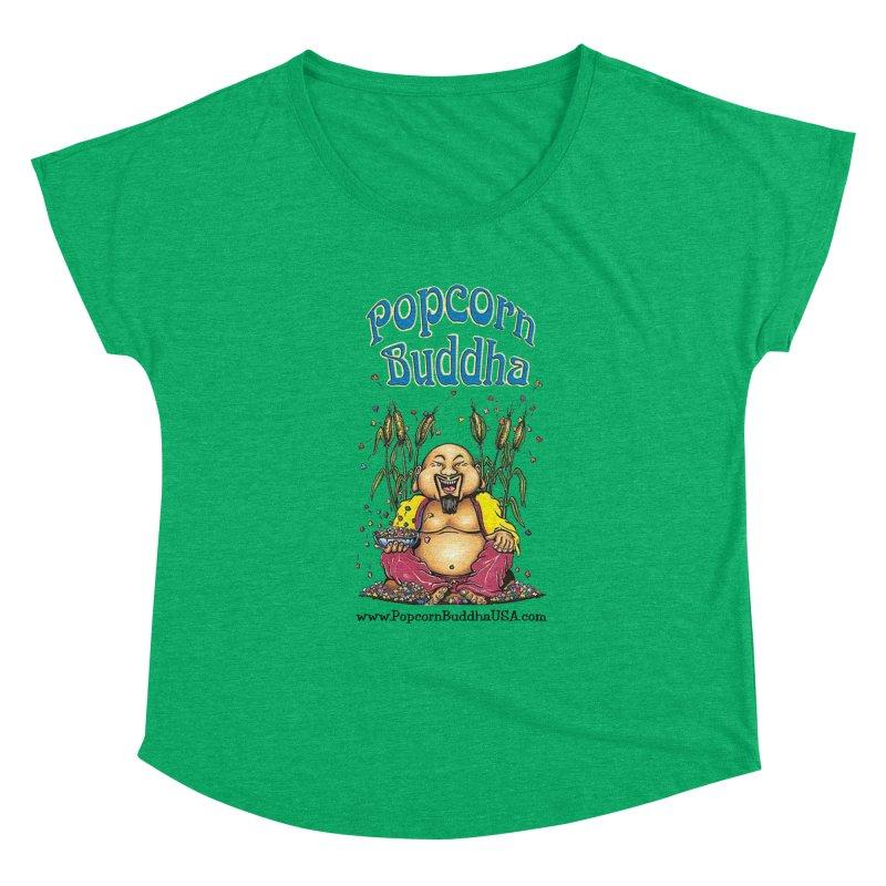 Sitting Buddha logo Women's Scoop Neck by Popcorn Buddha Merchandise